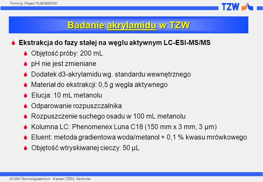 DVGW-Technologiezentrum Wasser (TZW), Karlsruhe Twinning Project PL06/IB/EN/01 Ekstrakcja do fazy stałej na węglu aktywnym LC-ESI-MS/MS Objętość próby