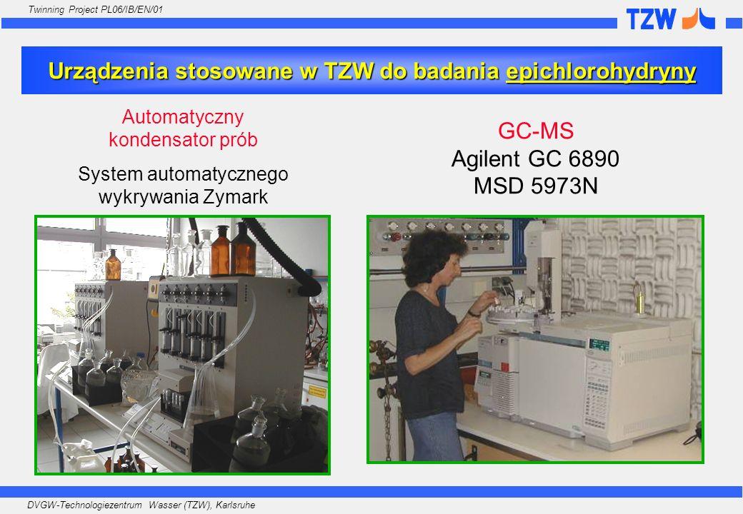 DVGW-Technologiezentrum Wasser (TZW), Karlsruhe Twinning Project PL06/IB/EN/01 Urządzenia stosowane w TZW do badania epichlorohydryny GC-MS Agilent GC