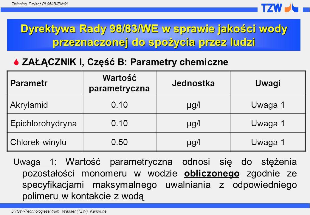 DVGW-Technologiezentrum Wasser (TZW), Karlsruhe Twinning Project PL06/IB/EN/01 ZAŁĄCZNIK III, Część 2: Parametry, dla których określono charakterystykę wykonania analizy ParametrZgodność Dokładno ść LODWarunkiUwagi Akrylamid Ma być kontrolowane przez specyfikację produktu Epichlorohydryna Chlorek winylu Nie jest wymagane analityczne oznaczanie akrylamidu, epichlorohydryny ani chlorku winylu!!.