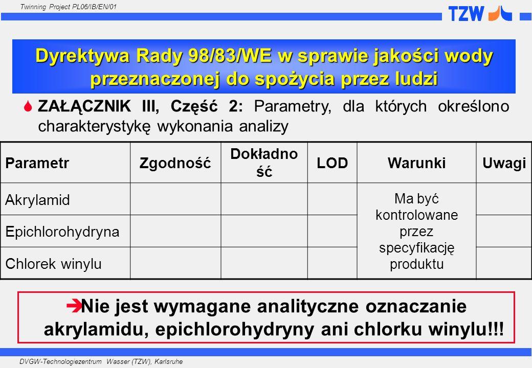 DVGW-Technologiezentrum Wasser (TZW), Karlsruhe Twinning Project PL06/IB/EN/01 Niektórzy dostawcy wody wykorzystujący poliakrylamidy w procesie koagulacji obliczają maksymalne stężenie akrylamidu Niektórzy dostawcy wody badają dostarczaną wodę na obecność akrylamidu, epichlorohydryny i/lub chlorku winylu (bez względu na stosowany przez nich proces uzdatniania i materiały użyte w wodociągach) Większość dostawców wody nie robi nic… Doświadczenia z praktyki w Niemczech