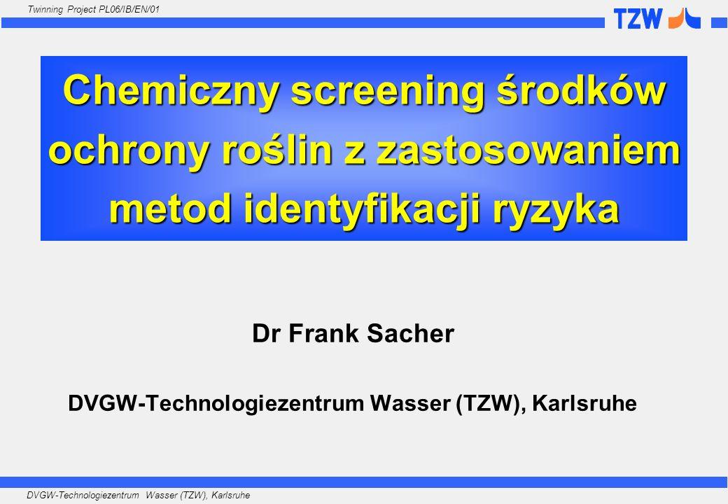 DVGW-Technologiezentrum Wasser (TZW), Karlsruhe Twinning Project PL06/IB/EN/01 Listy TZW: B] Listy dodatkowe (stosowane na życzenie) Lista 4 Lista 6 Lista 7 AMPA Glyphosat Amidosulfuron Bensulfuron-methyl Chlorsulfuron Metsulfuron-methyl Nicosulfuron Primisulfuron-methyl Prosulfuron Thifensulfuron-methyl Triasulfuron Triflusulfuron-methyl Lista 5 Aldrin alpha-Endosulfan alpha-HCH beta-Endosulfan beta-HCH cis-Chlordan cis-Heptachlorepoxid Cypermethrin Deltamethrin Dieldrin Endosulfansulfat gamma-HCH (Lindan) Heptachlor Hexachlorbenzol (HCB) Isodrin 1,2-Dichlorpropan 1,3-Dichlorpropan 1,3-Dichlorpropen (E-) 1,3-Dichlorpropen (Z-)