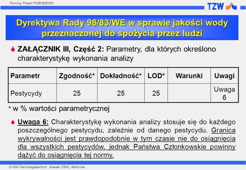 DVGW-Technologiezentrum Wasser (TZW), Karlsruhe Twinning Project PL06/IB/EN/01 ZAŁĄCZNIK III, Część 2: Parametry, dla których określono charakterystyk