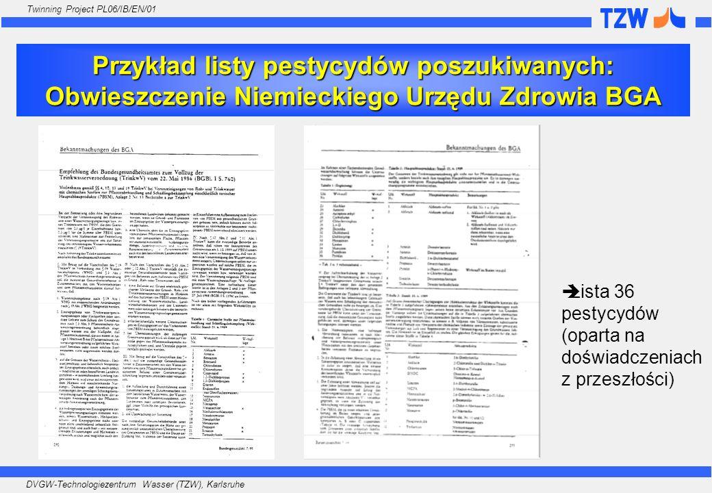 DVGW-Technologiezentrum Wasser (TZW), Karlsruhe Twinning Project PL06/IB/EN/01 Przykład listy pestycydów poszukiwanych: Obwieszczenie Niemieckiego Urz
