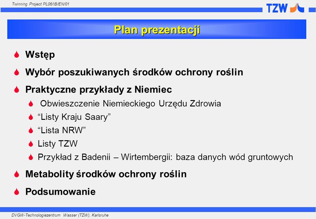 DVGW-Technologiezentrum Wasser (TZW), Karlsruhe Twinning Project PL06/IB/EN/01 Dyrektywa Rady 98/83/WE w sprawie jakości wody przeznaczonej do spożycia przez ludzi ZAŁĄCZNIK I, Cęść B: Parametry chemiczne Parametr Wartość parametryczna JednostkaUwagi Pestycydy0.10µg/lUwagi 6 i 7 Pestycydy - ogółem 0.50µg/lUwagi 6 i 8