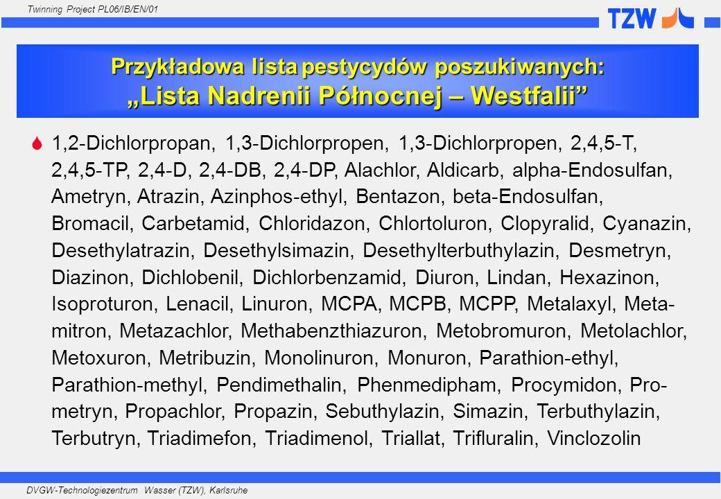 DVGW-Technologiezentrum Wasser (TZW), Karlsruhe Twinning Project PL06/IB/EN/01 Przykładowa lista pestycydów poszukiwanych:Lista Nadrenii Północnej – W