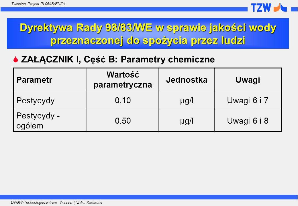 DVGW-Technologiezentrum Wasser (TZW), Karlsruhe Twinning Project PL06/IB/EN/01 Uwaga 6: Pestycydy oznaczają: -organiczne insektycydy -organiczne herbicydy -organiczne fungicydy -organiczne nematocydy -organiczne akarycydy -organiczne algicydy -organiczne rodentycydy -organiczne slimicydy -produkty pochodne (między innymi regulatory wzrostu) oraz ich odpowiednie metabolity, produkty rozkładu i reakcji.