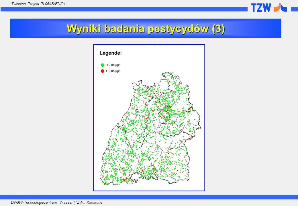 DVGW-Technologiezentrum Wasser (TZW), Karlsruhe Twinning Project PL06/IB/EN/01 GRUNDWASSERDATENBANK Wasserversorgung Wyniki badania pestycydów (3)
