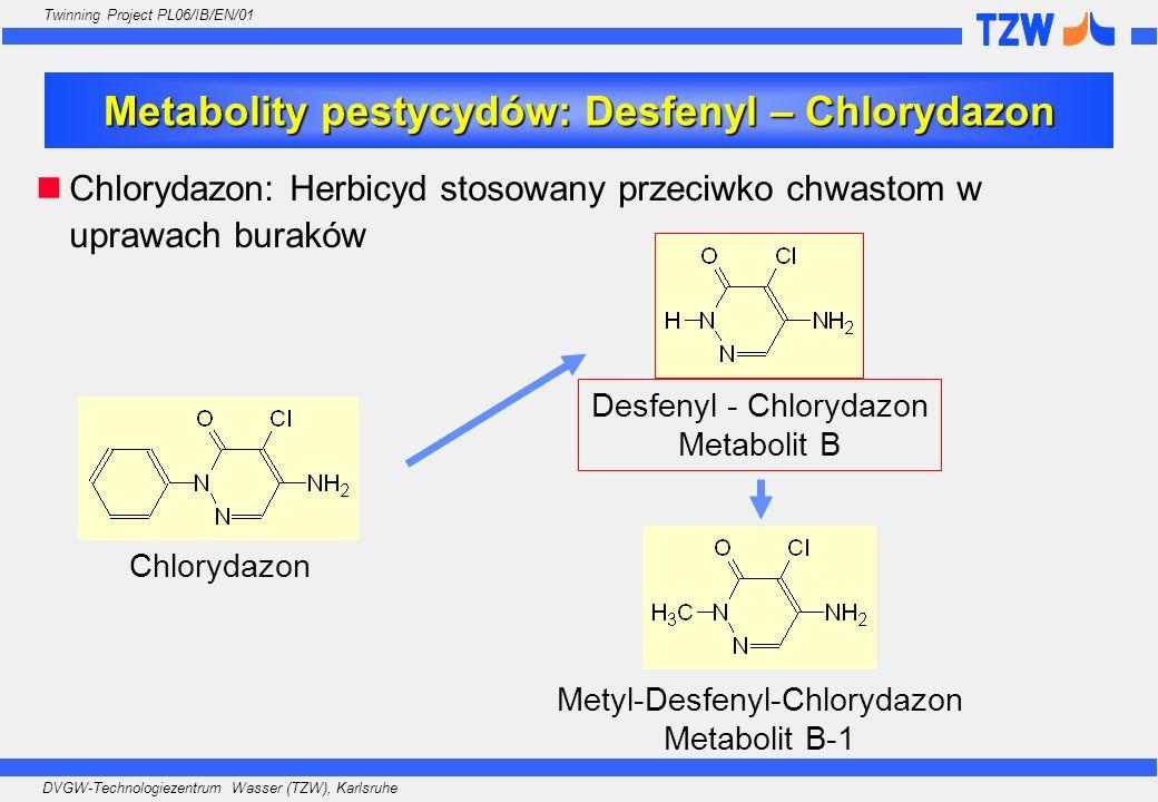 DVGW-Technologiezentrum Wasser (TZW), Karlsruhe Twinning Project PL06/IB/EN/01 Metabolity pestycydów: Desfenyl – Chlorydazon Chlorydazon Desfenyl - Ch
