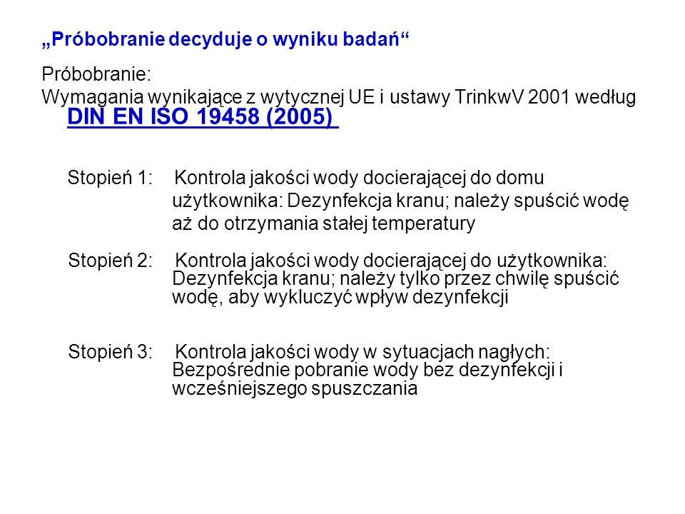 Próbobranie decyduje o wyniku badań Próbobranie: Wymagania wynikające z wytycznej UE i ustawy TrinkwV 2001 według DIN EN ISO 19458 (2005) Stopień 1: K
