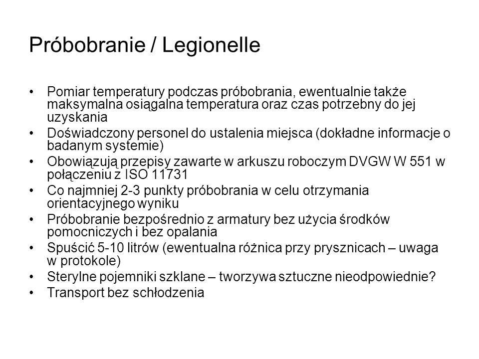 Próbobranie / Legionelle Pomiar temperatury podczas próbobrania, ewentualnie także maksymalna osiągalna temperatura oraz czas potrzebny do jej uzyskan