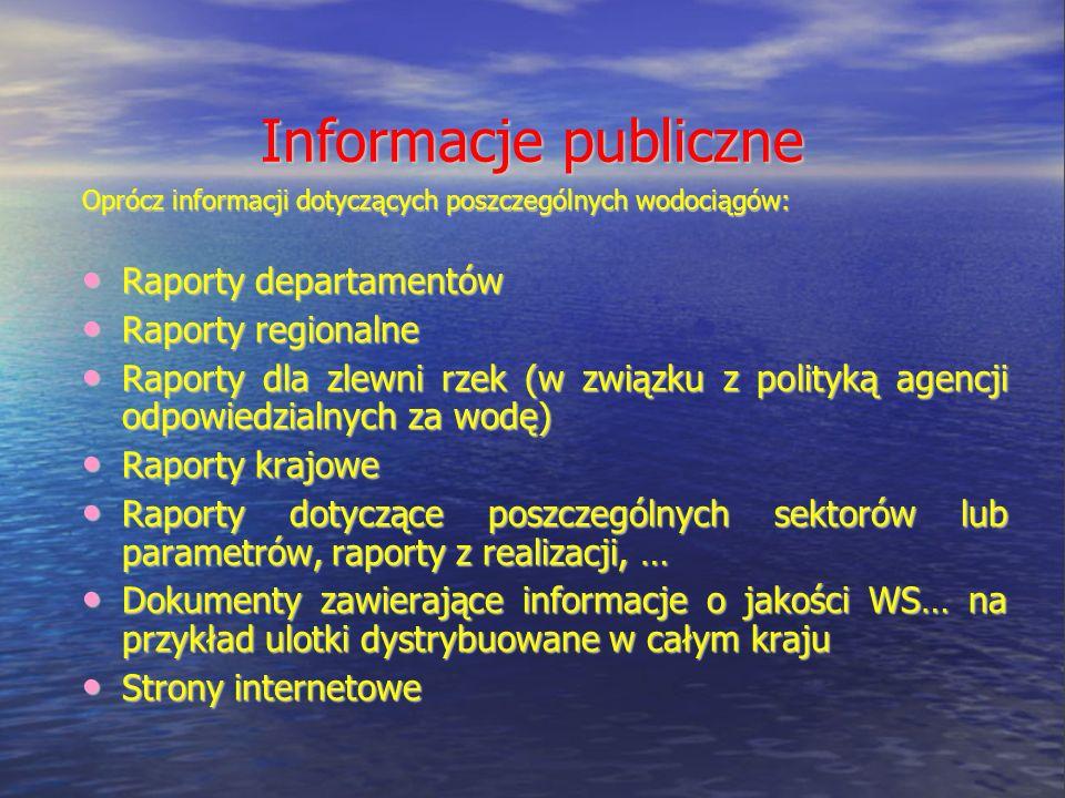 Informacje publiczne Oprócz informacji dotyczących poszczególnych wodociągów: Raporty departamentów Raporty departamentów Raporty regionalne Raporty regionalne Raporty dla zlewni rzek (w związku z polityką agencji odpowiedzialnych za wodę) Raporty dla zlewni rzek (w związku z polityką agencji odpowiedzialnych za wodę) Raporty krajowe Raporty krajowe Raporty dotyczące poszczególnych sektorów lub parametrów, raporty z realizacji, … Raporty dotyczące poszczególnych sektorów lub parametrów, raporty z realizacji, … Dokumenty zawierające informacje o jakości WS… na przykład ulotki dystrybuowane w całym kraju Dokumenty zawierające informacje o jakości WS… na przykład ulotki dystrybuowane w całym kraju Strony internetowe Strony internetowe