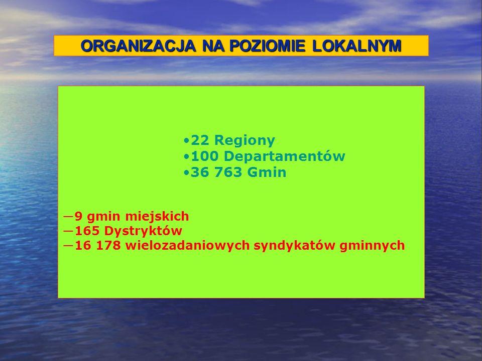 ORGANIZACJA NA POZIOMIE LOKALNYM 22 Regiony 100 Departamentów 36 763 Gmin 9 gmin miejskich 165 Dystryktów 16 178 wielozadaniowych syndykatów gminnych