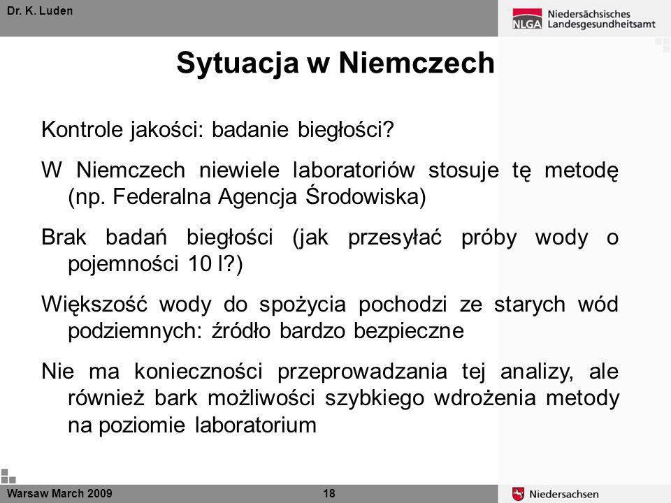 Dr. K. Luden Sytuacja w Niemczech Warsaw March 200918 Kontrole jakości: badanie biegłości? W Niemczech niewiele laboratoriów stosuje tę metodę (np. Fe