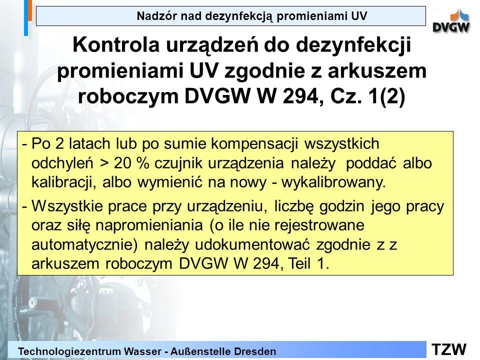 TZW Technologiezentrum Wasser - Außenstelle Dresden Nadzór nad dezynfekcją promieniami UV Kontrola urządzeń do dezynfekcji promieniami UV zgodnie z ar