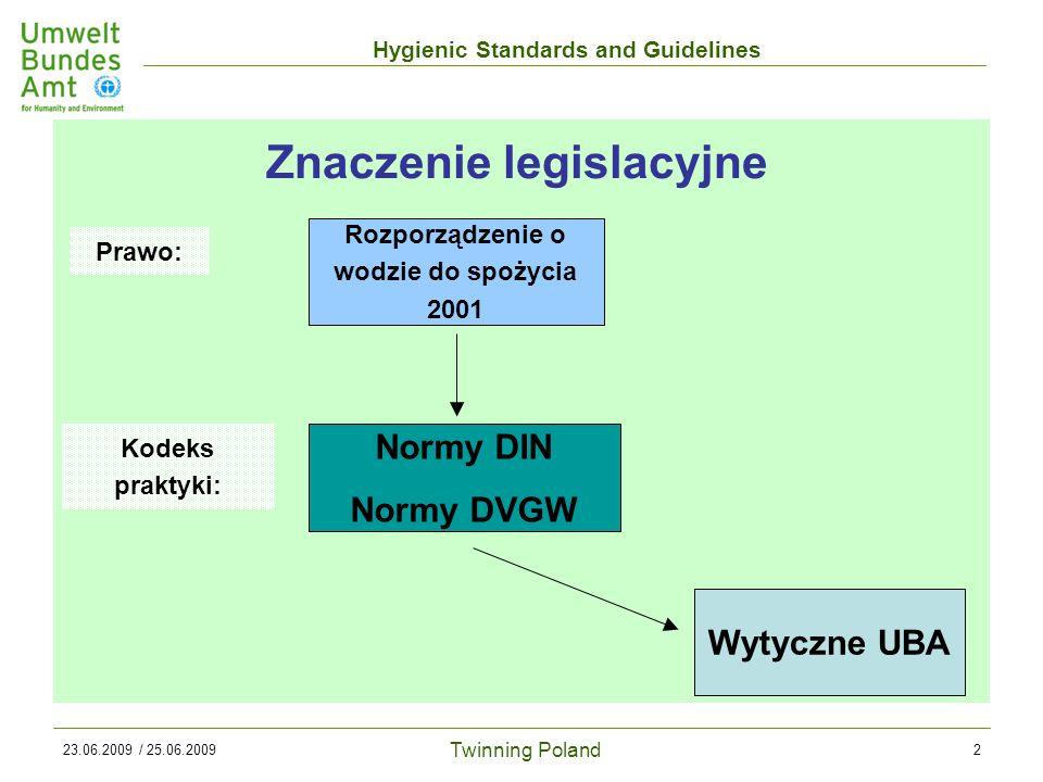 Twinning Poland Hygienic Standards and Guidelines 23.06.2009 / 25.06.20092 Znaczenie legislacyjne Rozporządzenie o wodzie do spożycia 2001 Normy DIN Normy DVGW Wytyczne UBA Prawo: Kodeks praktyki: