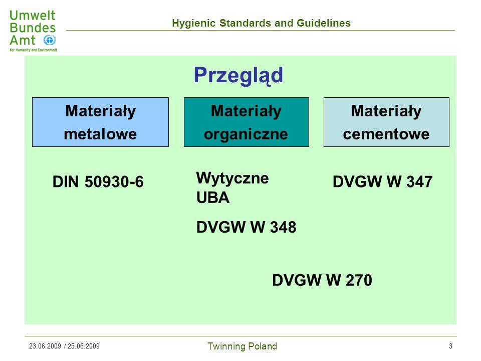 Twinning Poland Hygienic Standards and Guidelines 23.06.2009 / 25.06.20093 Przegląd Materiały metalowe Materiały organiczne Materiały cementowe DIN 50930-6 Wytyczne UBA DVGW W 348 DVGW W 347 DVGW W 270