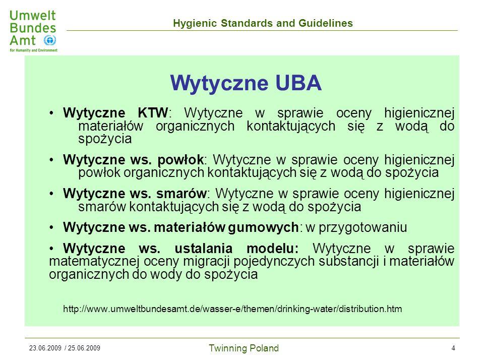 Twinning Poland Hygienic Standards and Guidelines 23.06.2009 / 25.06.20094 Wytyczne KTW: Wytyczne w sprawie oceny higienicznej materiałów organicznych kontaktujących się z wodą do spożycia Wytyczne ws.