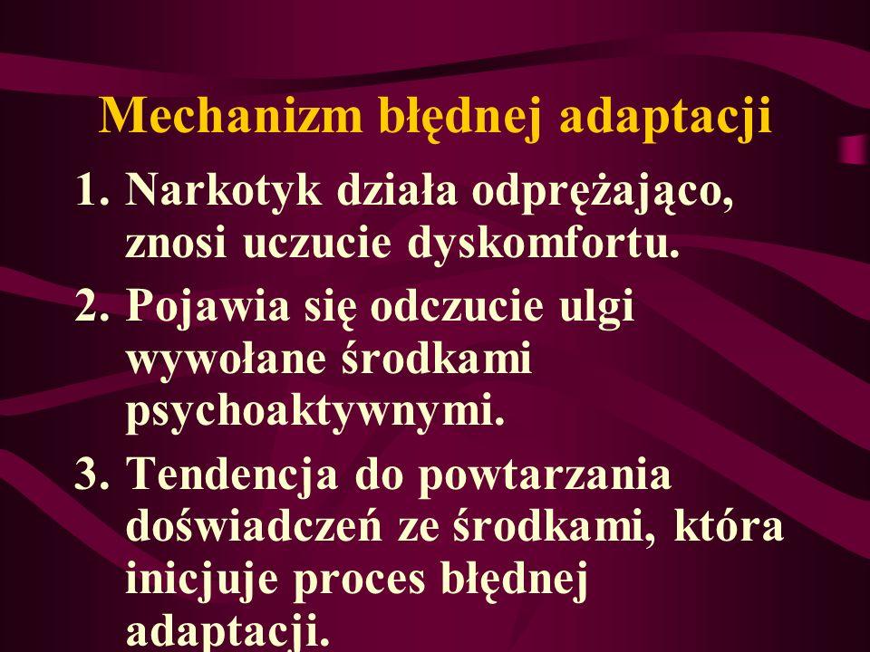Mechanizm błędnej adaptacji 1.Narkotyk działa odprężająco, znosi uczucie dyskomfortu. 2.Pojawia się odczucie ulgi wywołane środkami psychoaktywnymi. 3