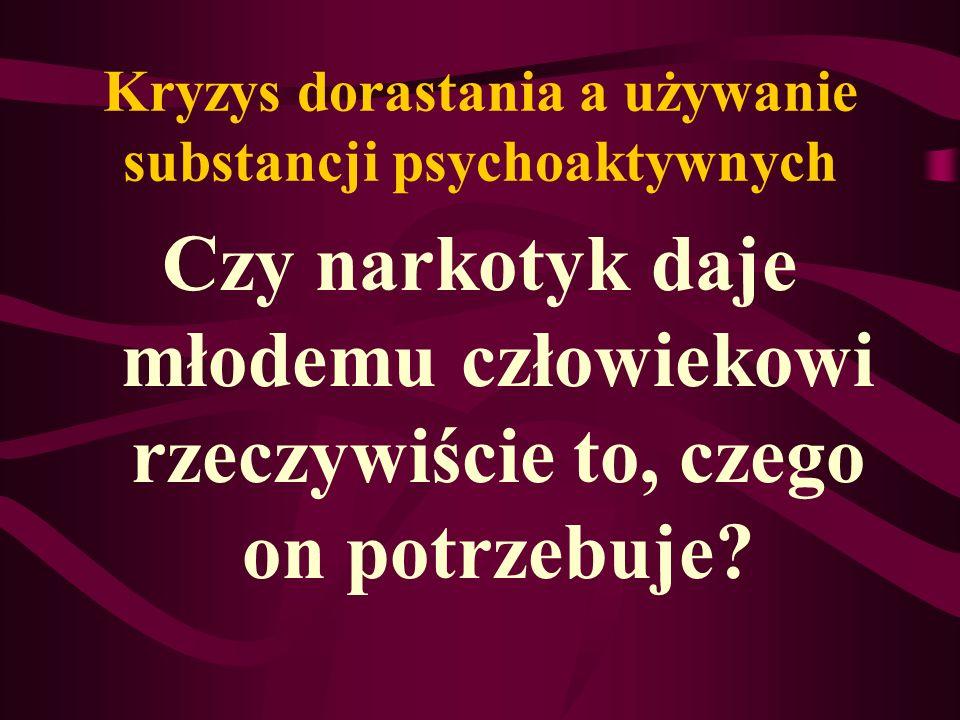 Kryzys dorastania a używanie substancji psychoaktywnych Czy narkotyk daje młodemu człowiekowi rzeczywiście to, czego on potrzebuje?