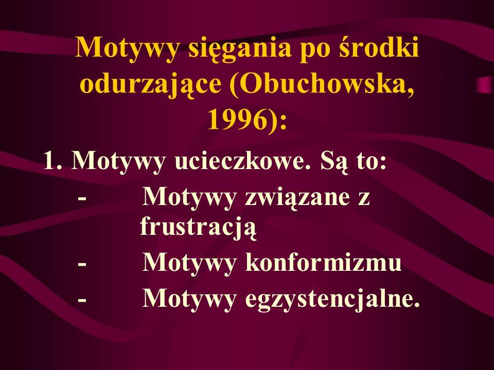 Motywy sięgania po środki odurzające (Obuchowska, 1996): 1.Motywy ucieczkowe. Są to: - Motywy związane z frustracją - Motywy konformizmu - Motywy egzy