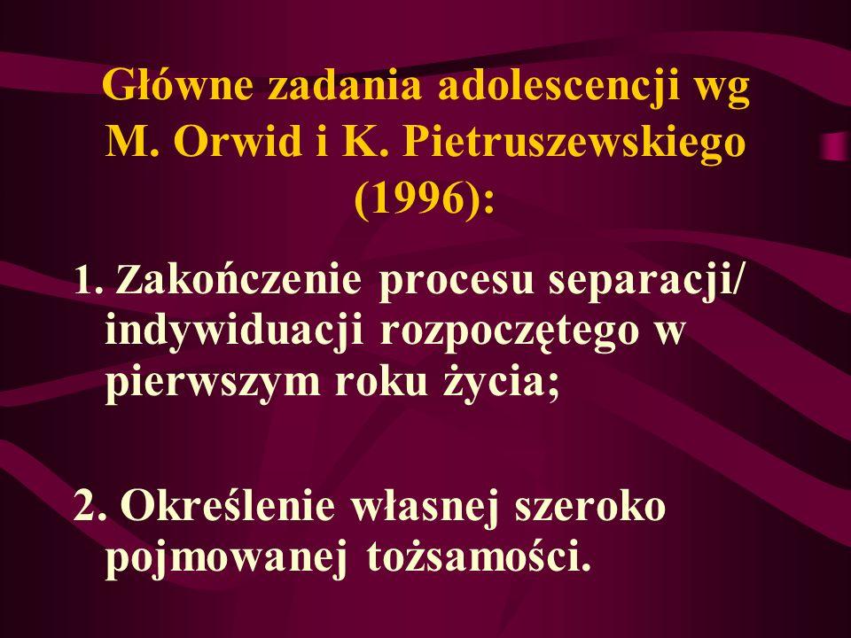 Główne zadania adolescencji wg M. Orwid i K. Pietruszewskiego (1996): 1. Z akończenie procesu separacji/ indywiduacji rozpoczętego w pierwszym roku ży