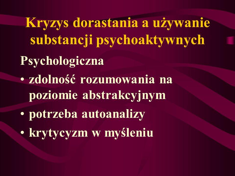 Kryzys dorastania a używanie substancji psychoaktywnych Psychologiczna zdolność rozumowania na poziomie abstrakcyjnym potrzeba autoanalizy krytycyzm w myśleniu