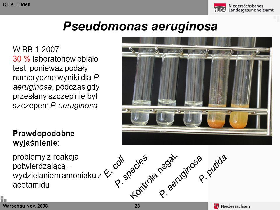 Dr. K. Luden Pseudomonas aeruginosa Warschau Nov. 200828 E. coli P. species P. putida Kontrola negat. P. aeruginosa W BB 1-2007 30 % laboratoriów obla