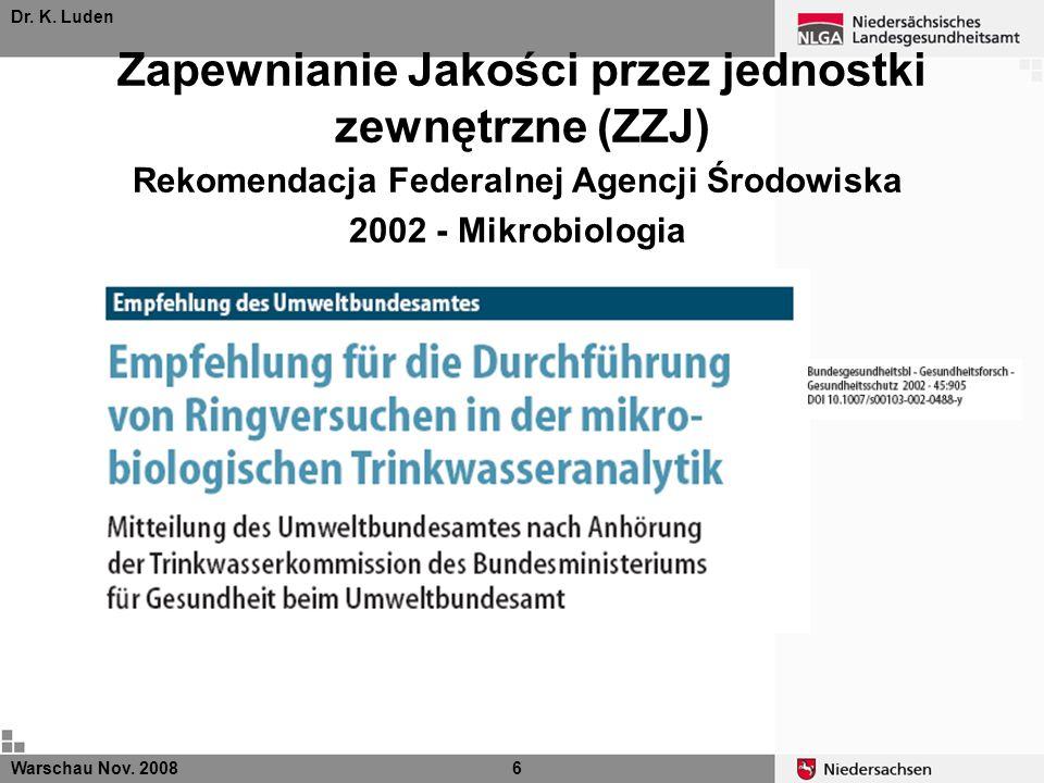 Dr. K. Luden Zapewnianie Jakości przez jednostki zewnętrzne (ZZJ) Rekomendacja Federalnej Agencji Środowiska 2002 - Mikrobiologia Warschau Nov. 20086