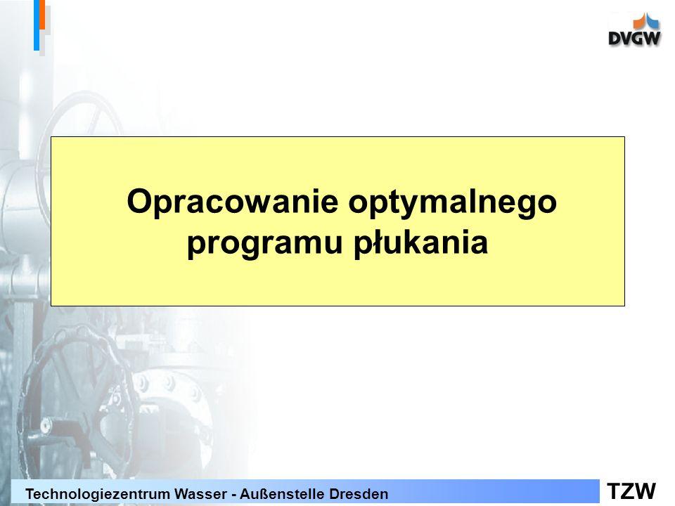 TZW Technologiezentrum Wasser - Außenstelle Dresden Opracowanie optymalnego programu płukania