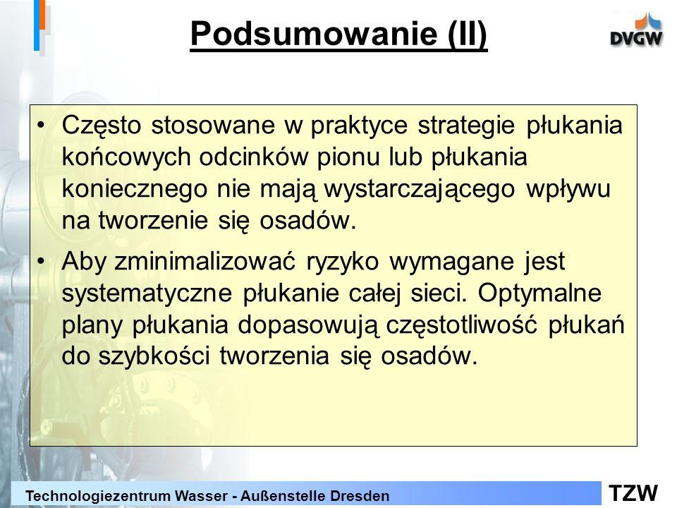 TZW Technologiezentrum Wasser - Außenstelle Dresden Często stosowane w praktyce strategie płukania końcowych odcinków pionu lub płukania koniecznego nie mają wystarczającego wpływu na tworzenie się osadów.