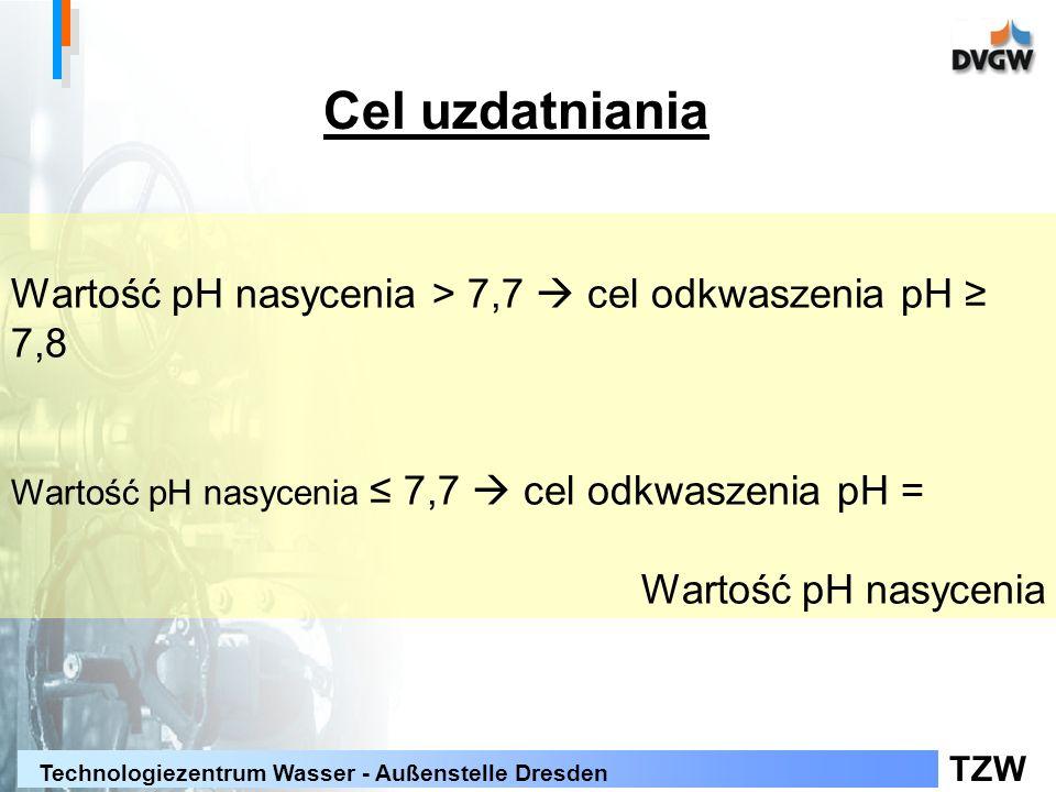 TZW Technologiezentrum Wasser - Außenstelle Dresden Wartość pH nasycenia > 7,7 cel odkwaszenia pH 7,8 Wartość pH nasycenia 7,7 cel odkwaszenia pH = Wartość pH nasycenia Cel uzdatniania