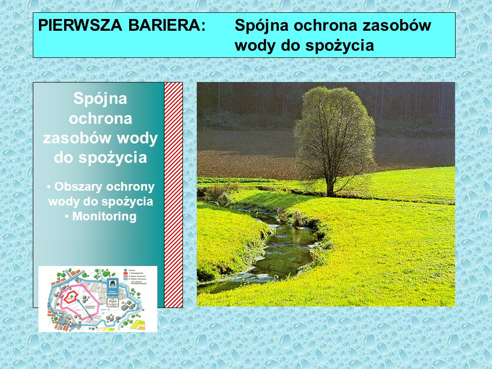 Sustainable Protection of Drinking Water Resources: Drinking Water Protection Areas Monitoring PIERWSZA BARIERA: Spójna ochrona zasobów wody do spożyc