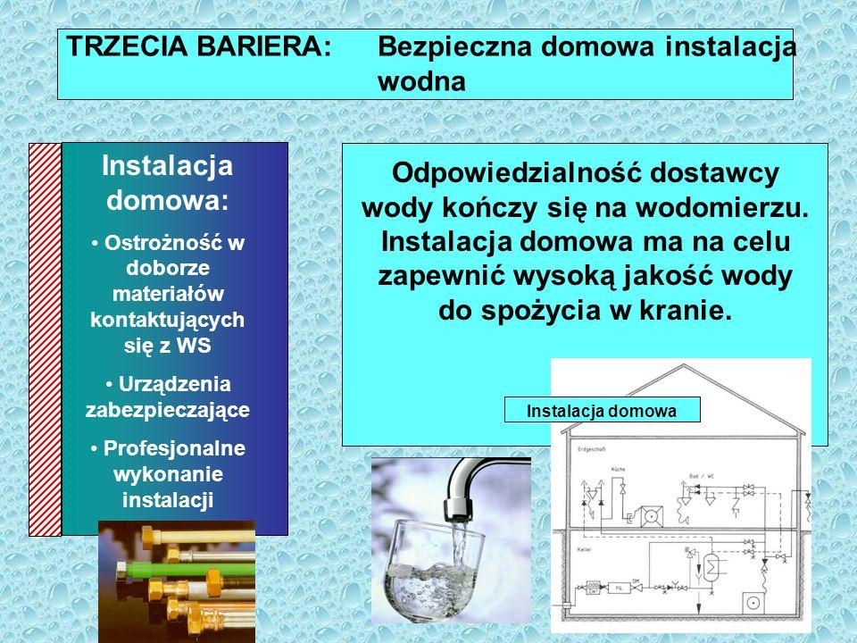 TRZECIA BARIERA: Bezpieczna domowa instalacja wodna Materiały kontaktujące się z wodą do spożycia nie powinny zmieniać jej właściwości mikrobiologicznych i chemicznych.