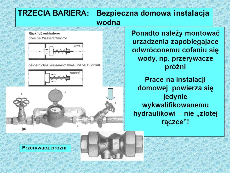 SYSTEM WIELOBARIEROWY: Podstawa nowoczesnego systemu zaopatrzenia w wodę w Europie Interakcja wszystkich trzech barier: spójna ochrona zasobów wody projektowanie, budowa i eksploatacja systemu zaopatrzenia w wodę zgodnie ze Standardami Technicznymi (DIN, DVGW) profesjonalne zaplanowanie, montaż i eksploatacja instalacji domowych zgodnie ze Standardami Technicznymi przez wykwalifikowanych hydraulików gwarantuje, że konsumentowi dostarczona zostanie woda do spożycia najwyższej jakości!