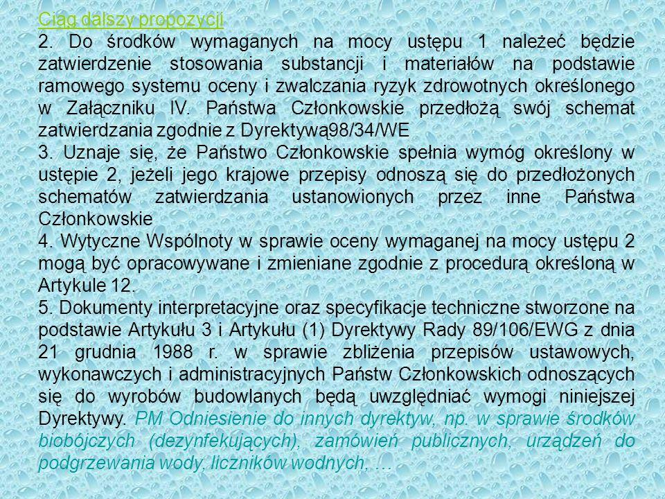 Ciąg dalszy propozycji Artykuł 11 Przegląd załączników (-) 2.