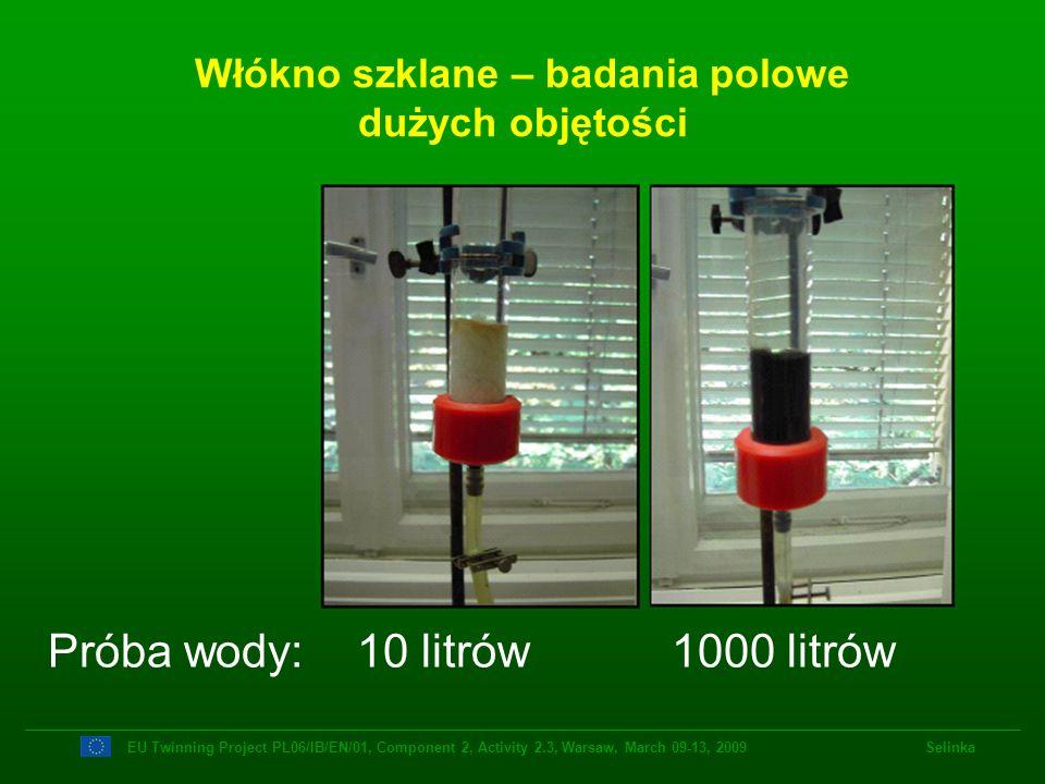 Włókno szklane – badania polowe dużych objętości Próba wody: 10 litrów 1000 litrów EU Twinning Project PL06/IB/EN/01, Component 2, Activity 2.3, Warsa