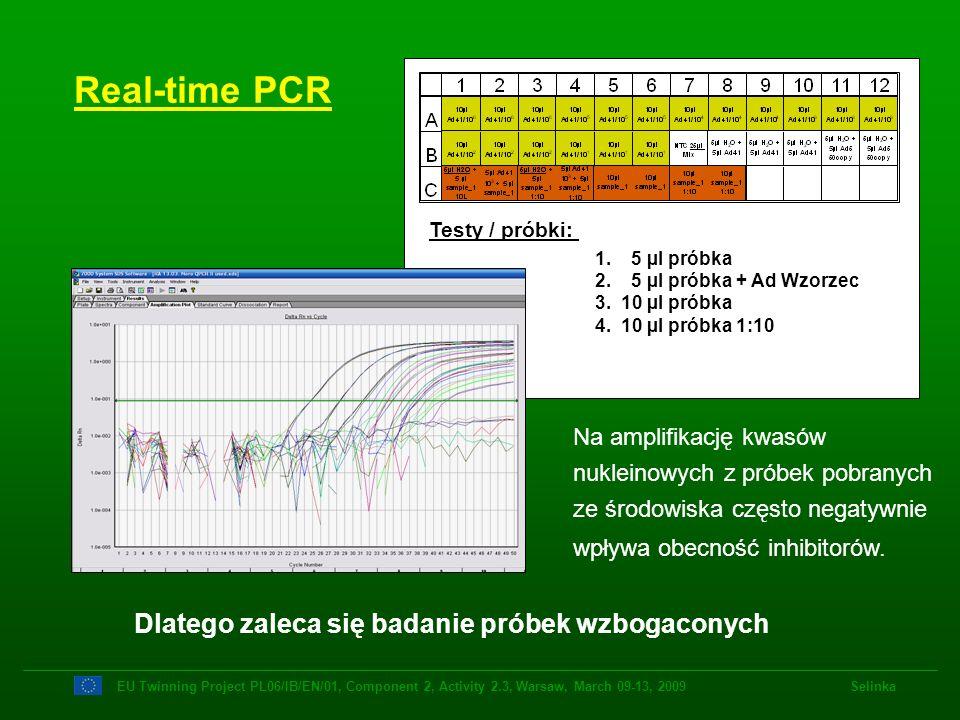 1. 5 µl próbka 2. 5 µl próbka + Ad Wzorzec 3. 10 µl próbka 4. 10 µl próbka 1:10 Testy / próbki: Real-time PCR Na amplifikację kwasów nukleinowych z pr