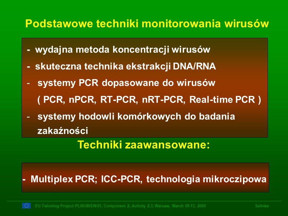 Podstawowe techniki monitorowania wirusów EU Twinning Project PL06/IB/EN/01, Component 2, Activity 2.3, Warsaw, March 09-13, 2009 Selinka Techniki zaa