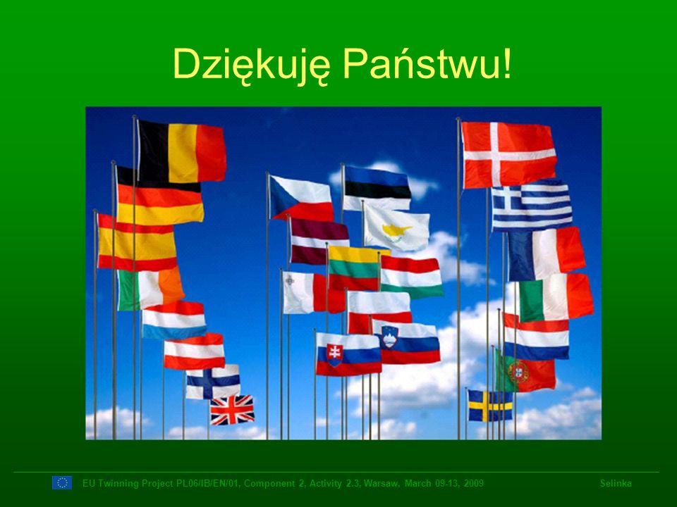 EU Twinning Project PL06/IB/EN/01, Component 2, Activity 2.3, Warsaw, March 09-13, 2009 Selinka Dziękuję Państwu!