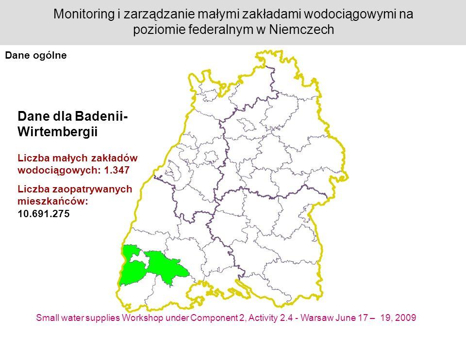 Small water supplies Workshop under Component 2, Activity 2.4 - Warsaw June 17 – 19, 2009 Monitoring i zarządzanie małymi zakładami wodociągowymi na poziomie federalnym w Niemczech Dane dla Badenii- Wirtembergii Liczba małych zakładów wodociągowych: 1.347 Liczba zaopatrywanych mieszkańców: 10.691.275 Dane ogólne
