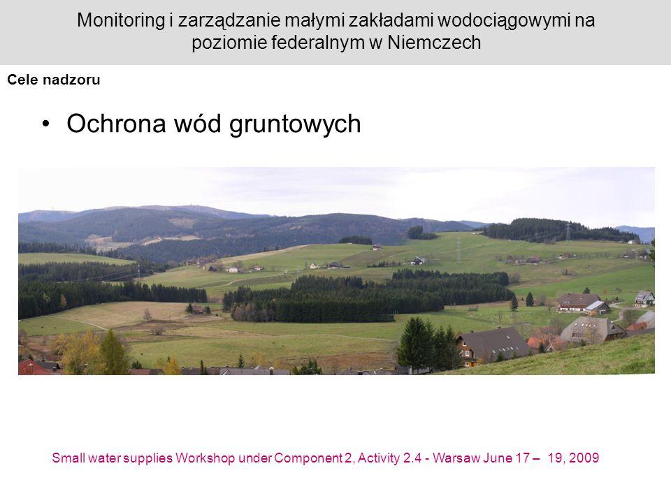 Small water supplies Workshop under Component 2, Activity 2.4 - Warsaw June 17 – 19, 2009 Monitoring i zarządzanie małymi zakładami wodociągowymi na poziomie federalnym w Niemczech Ochrona wód gruntowych Cele nadzoru