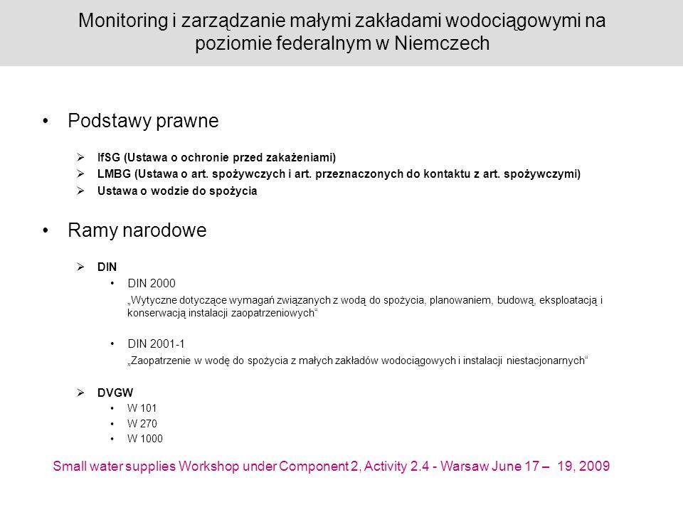 Small water supplies Workshop under Component 2, Activity 2.4 - Warsaw June 17 – 19, 2009 Monitoring i zarządzanie małymi zakładami wodociągowymi na poziomie federalnym w Niemczech Podstawy prawne IfSG (Ustawa o ochronie przed zakażeniami) LMBG (Ustawa o art.