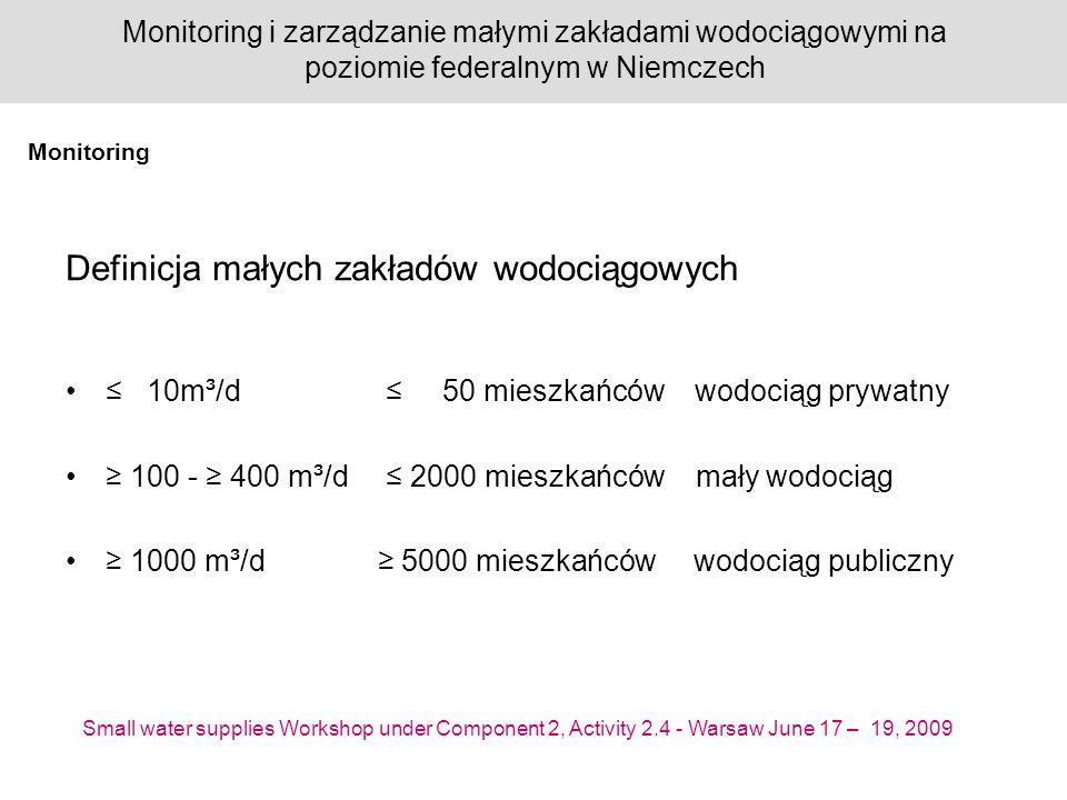 Small water supplies Workshop under Component 2, Activity 2.4 - Warsaw June 17 – 19, 2009 Monitoring i zarządzanie małymi zakładami wodociągowymi na poziomie federalnym w Niemczech Definicja małych zakładów wodociągowych 10m³/d 50 mieszkańców wodociąg prywatny 100 - 400 m³/d 2000 mieszkańców mały wodociąg 1000 m³/d 5000 mieszkańców wodociąg publiczny Monitoring