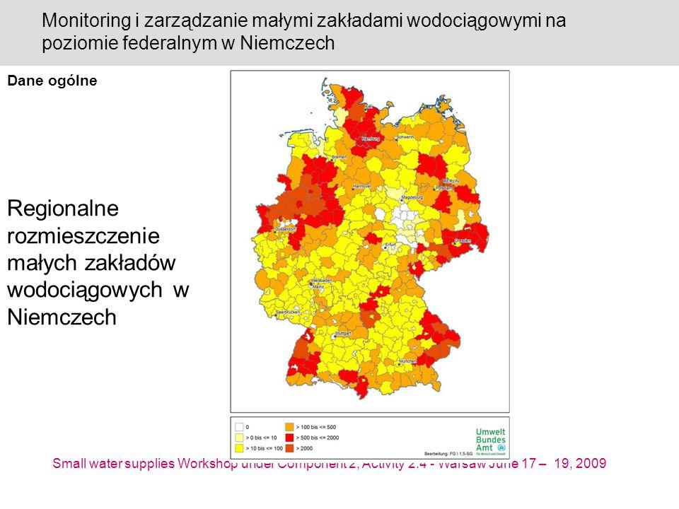 Small water supplies Workshop under Component 2, Activity 2.4 - Warsaw June 17 – 19, 2009 Monitoring i zarządzanie małymi zakładami wodociągowymi na poziomie federalnym w Niemczech Regionalne rozmieszczenie małych zakładów wodociągowych w Niemczech Dane ogólne