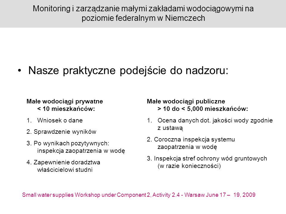 Small water supplies Workshop under Component 2, Activity 2.4 - Warsaw June 17 – 19, 2009 Monitoring i zarządzanie małymi zakładami wodociągowymi na poziomie federalnym w Niemczech
