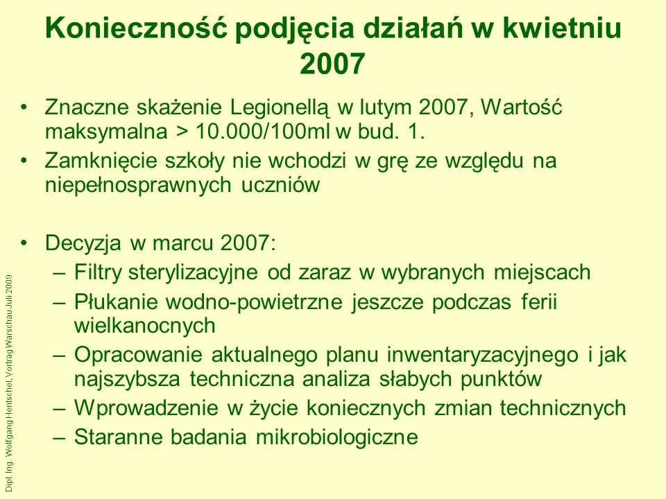Dipl. Ing. Wolfgang Hentschel, Vortrag Warschau Juli 2009 Wyniki pośrednie