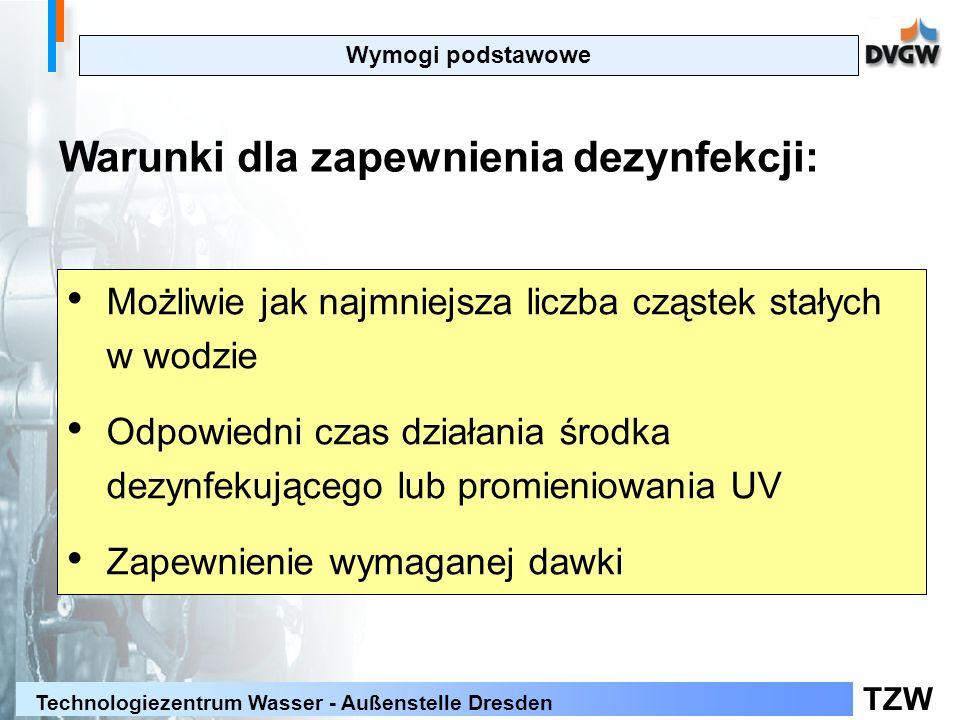 TZW Technologiezentrum Wasser - Außenstelle Dresden Wymogi podstawowe Warunki dla zapewnienia dezynfekcji: Możliwie jak najmniejsza liczba cząstek stałych w wodzie Odpowiedni czas działania środka dezynfekującego lub promieniowania UV Zapewnienie wymaganej dawki