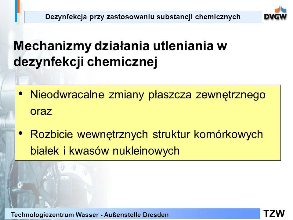 TZW Technologiezentrum Wasser - Außenstelle Dresden Dezynfekcja przy zastosowaniu substancji chemicznych Mechanizmy działania utleniania w dezynfekcji