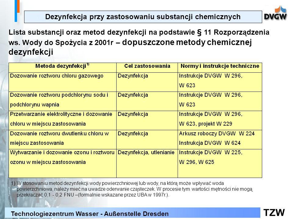TZW Technologiezentrum Wasser - Außenstelle Dresden Dezynfekcja przy zastosowaniu substancji chemicznych Lista substancji oraz metod dezynfekcji na podstawie § 11 Rozporządzenia ws.