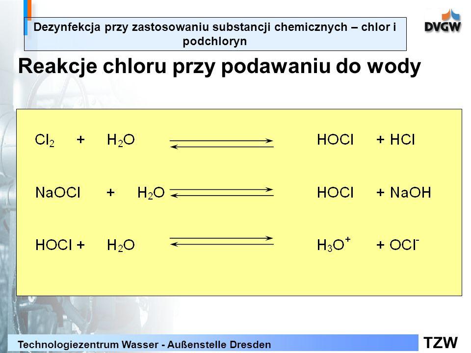 TZW Technologiezentrum Wasser - Außenstelle Dresden Dezynfekcja przy zastosowaniu substancji chemicznych – chlor i podchloryn Reakcje chloru przy podawaniu do wody